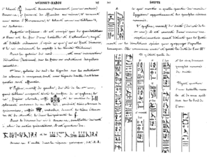 A partial description of the hieroglyphic text at Medinet Habu on the right tower of Second Pylon (left) and an illustration of the prisoners depicted at the base of the Fortified East Gate (right), were first provided by Jean-François Champollion following his 1828–29 travels to Egypt and published posthumously.[14] Although Champollion did not label them, decades later the hieroglyphs labeled 4 to 8 (left) were translated as Peleset, Tjeker, Shekelesh, Denyen and Weshesh, and the hieroglyphs next to prisoners 4 and 6 (right) translated as Sherden and Teresh.[15]