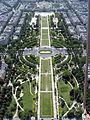 Champs de Mars from the Eiffel Tower, Paris June 2014.jpg
