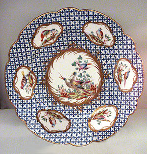 Chantilly porcelain - Chantilly soft-paste porcelain plate, 1753-1760.