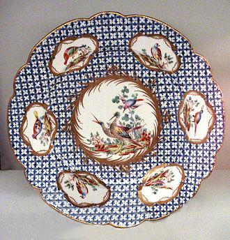 Chantilly porcelain - Chantilly soft-paste porcelain plate, 1753-1760.