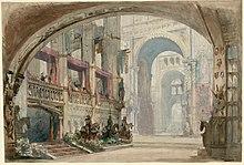 Set design for the original production of Robert Bruce (1846) (Source: Wikimedia)