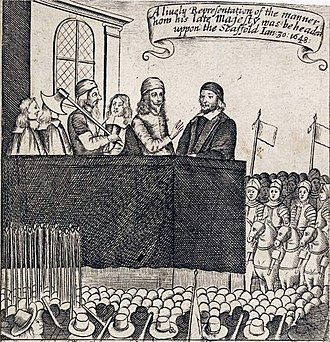 Execution of Charles I - A Lively Representation of the Manner how his late Majesty was Beheaded upon the Scaffold, a Restoration print of Charles making his speech upon the scaffold.