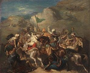 Bataille de cavaliers arabes autour d'un étendard