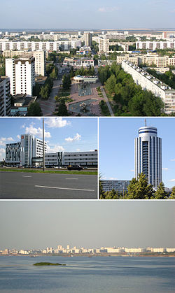 Clockwise from top: Boulevard of Enthusiasts, «2/18» Business Centre, City view from Kama River, IT park