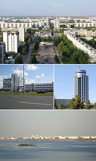Naberezhnye Chelny - Clockwise from top: Boulevard of Enthusiasts, «2/18» Business Centre, City view from Kama River, IT park