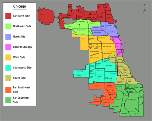 Northwest Chicago Map.Talk Chicago Districts Discussion Travel Guide At Wikivoyage