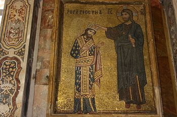 Roger II is crowned by Christ, mosaic in La Martorana