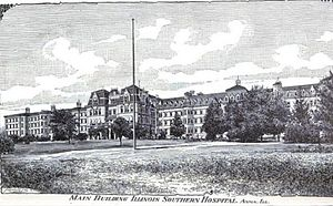 Anna, Illinois - The Anna State Asylum, built in 1869 in the Kirkbride Plan was a rambling four-story structure, part of which was destroyed in separate incidents, but most of which is still standing as the central complex to the C.L. Choate Mental Health and Developmental Center.