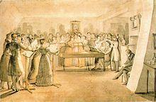 Chorprobe bei Anton Friedrich Thibaut, die Sänger werden an einem Cembalo begleitet (Quelle: Wikimedia)