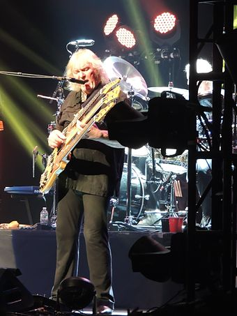 Squire with a triple-necked bass guitar in 2013 Chris Squire Beacon Theatre 2013-04-09 5.jpg