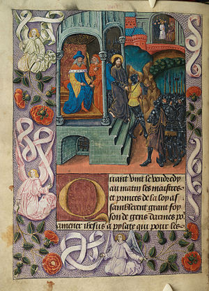 Christ before Pilate, and before Herod; angels in border