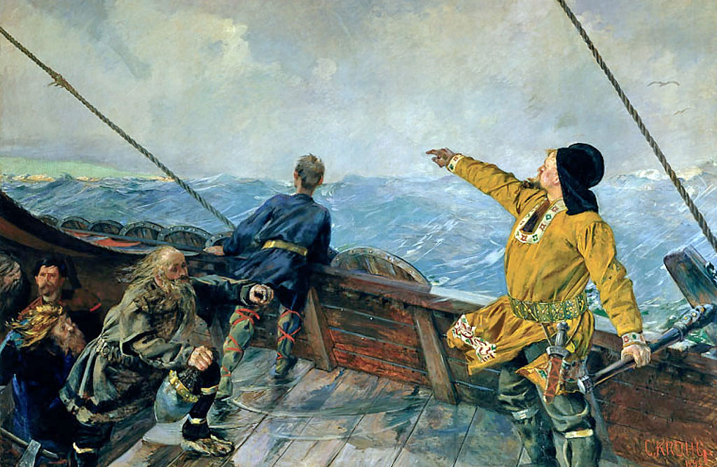 Leiv Eiriksson discovers America, by Christian Krohg