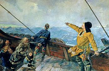 Christian Krohg's painting of Leiv Eiriksson d...