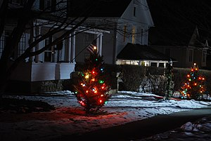 English: Christmas lights on a village street,...