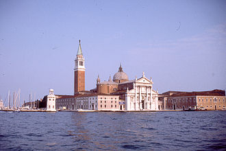 San Giorgio Maggiore (church), Venice - San Giorgio Maggiore seen across the water in full sun on an evening in June