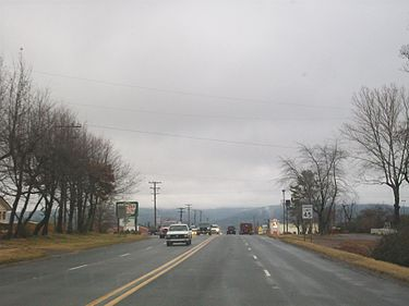 US 65 south of Clinton. City of Clinton, Arkansas.jpg