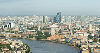 The City of London is the financial capital of the United Kingdom and one of the largest financial centres in the world. City of London Skyline from Canary Wharf - Sept 2008.jpg