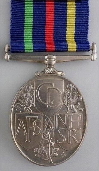 Civil Defence Medal - Image: Civil Defence Long Service Medal, reverse