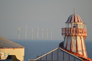 Gunfleet Sands Offshore Wind Farm - Turbines visible from Clacton-on-Sea beyond Clacton Pier
