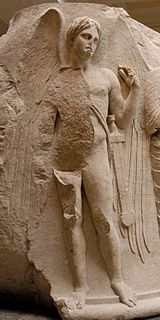 Thanatos as a winged youth. Sculptured marble column drum from the Temple of Artemis at Ephesos, ca. 325-300 BC.