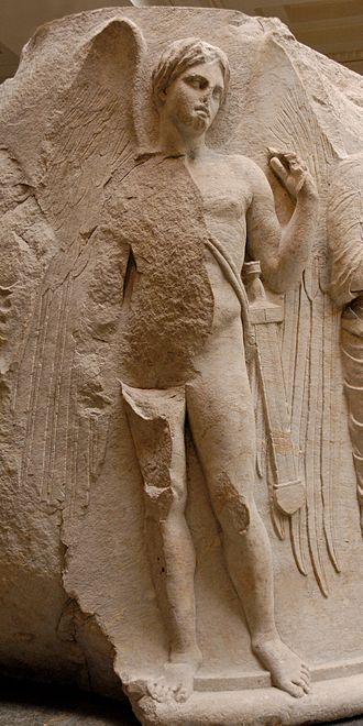 Death (personification) - Thanatos as a winged youth, c. 325–300 BC, at Temple of Artemis, Ephesos