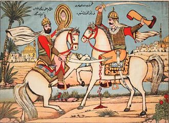 Battle of the Trench - Combat between Ali ibn Abi Talib (left) and Amr ibn Abd al-Wud (right) during the Battle of the Trench