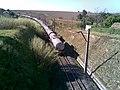 Comboio que passava pela Variante Boa Vista-Guaianã km 229 sentido Boa Vista e antiga alça de ligação (aterro à direita) com o ramal de Campinas da Estrada de Ferro Sorocabana - EFS em Indaiatuba - panoramio - zardeto (1).jpg