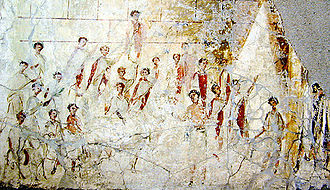 Toga - A fresco from a building near Pompeii, a rare depiction of Roman men in togae praetextae with dark red borders. It dates from the early Imperial Era and probably shows an event during Compitalia, a popular street-festival