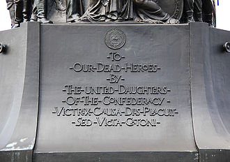 Pharsalia - The base of the Confederate Memorial at Arlington National Cemetery in the United States, which is inscribed with Lucan's line, Victrix causa deis placuit sed victa Catoni.