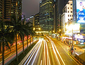 Connaught Road - Image: Connaught Road Central near Exchange Square at night