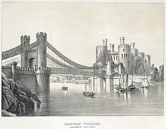 Conwy Suspension Bridge - Conway Bridge c.1840, before the construction of Stephenson's tubular Bridge