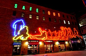 Coors Field - Extended exposure of Neon lights on the north-east Corner above the Blue Moon Brewery.