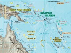 Karte vom Korallenmeer und Umgebung