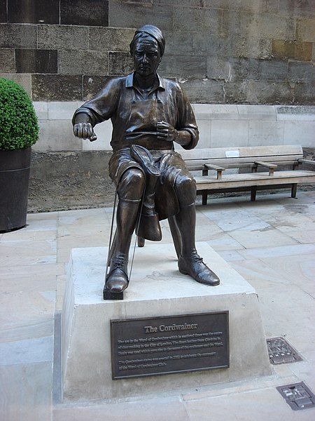 Cordwainer statue by Alma Boyes on Watling Street, in the Cordwainer ward of the City of London. Photo by Oxyman.