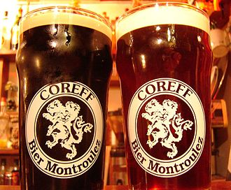 Beer in France - A Coreff porter and a Coreff pale ale.