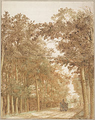 Forest Road with Two Horse-Drawn Carts