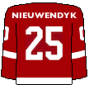 Cornell Big Red men's ice hockey - Image: Cornell Retired Sweater 25 Nieuwendyk