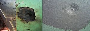 Pitting corrosion - A corrosion pit on the outside wall of a pipeline at a coating defect before and after abrasive blasting.