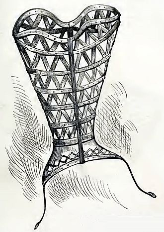 Metal corset - 1868 illustration claiming to show a 16th-century steel corset-cover