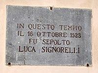 Cortona, san francesco, interno, lapide che ricorda la sepoltura di luca signorelli nel 1523.jpg