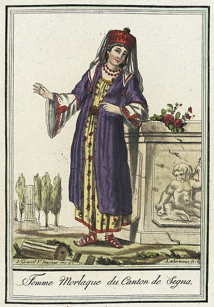Costumes de Différents Pays, 'Femme Morlaque du Canton de Segna' :France, circa 1797 :Prints; engravings :Hand-tinted engraving on paper :Sheet: 10 1/4 x 7 7/8 in.