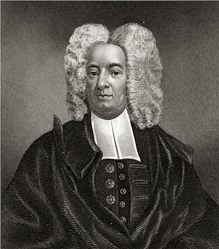 Cotton Mather, influential New England Puritan minister, portrait by Peter Pelham. Cotton Mather.jpg