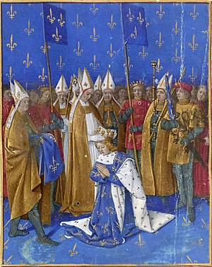 Bal des Ardents - Coronation of Charles VI of France depicted by Jean Fouquet in the mid-15th century Grandes Chroniques de France