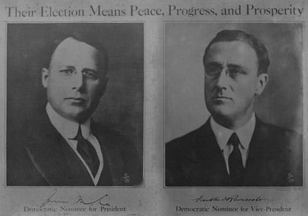 Poster for the 1920 Democratic presidential ticket Cox Roosevelt poster 1920.jpg