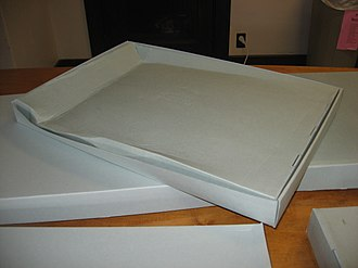 Creep (deformation) - Creep on the underside of a cardboard box: a largely empty box was placed on a smaller box, and more boxes were placed on top of it.  Due to the weight, the portions of the empty box not upheld by the lower support gradually deflected downward.