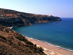 Komos Beach on the south coast of Crete, near ...