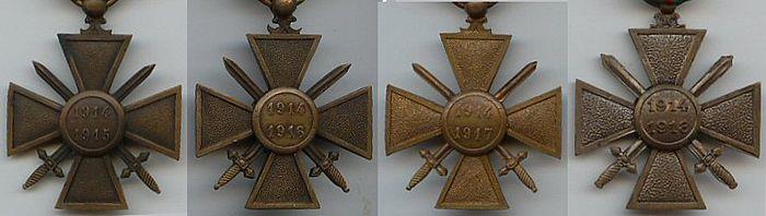 Croix de Guerre 1914 revers X 4