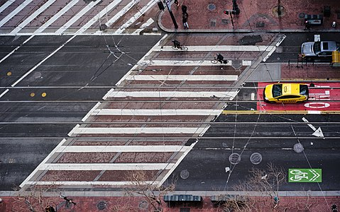 A pedestrian crossing in San Francisco, viewed from above.