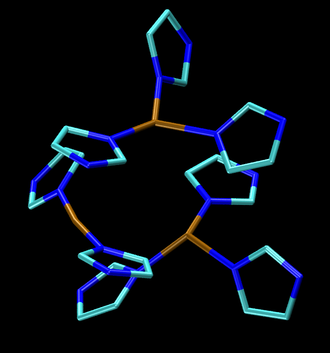 Laccase - The tricopper site found in many laccases, notice that each copper center is bound to the imidazole sidechains of histidine (color code: copper is brown, nitrogen is blue).