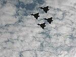 Cuatro aviones Eurofighter Typhoon, volando sobre Madrid, el 12 de octubre de 2017.jpg